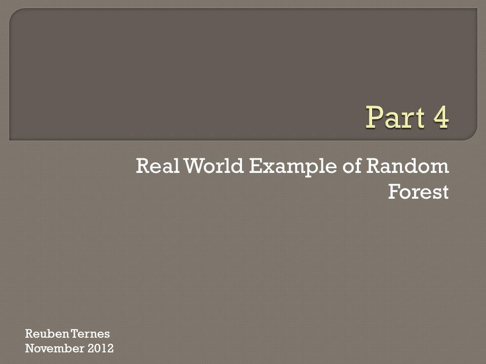 Real World Example of Random Forest