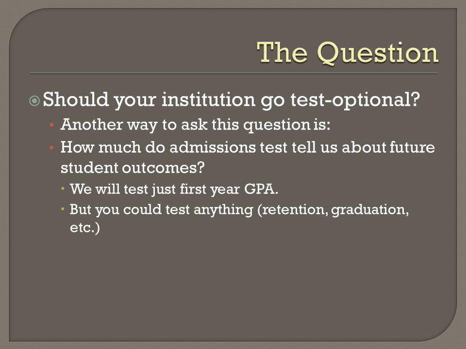 The Question Should your institution go test-optional