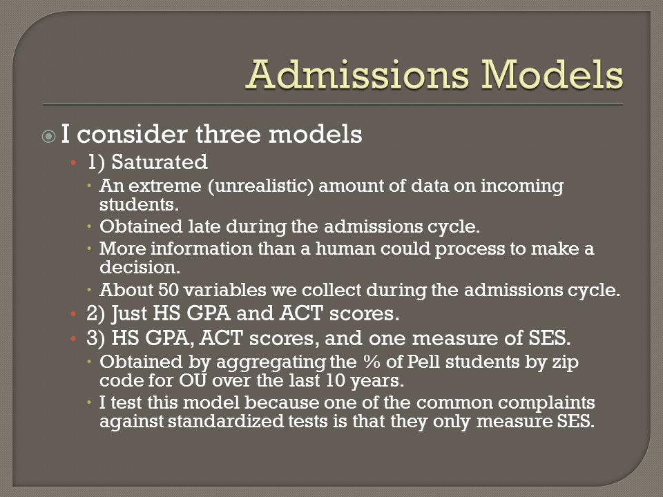 Admissions Models I consider three models 1) Saturated