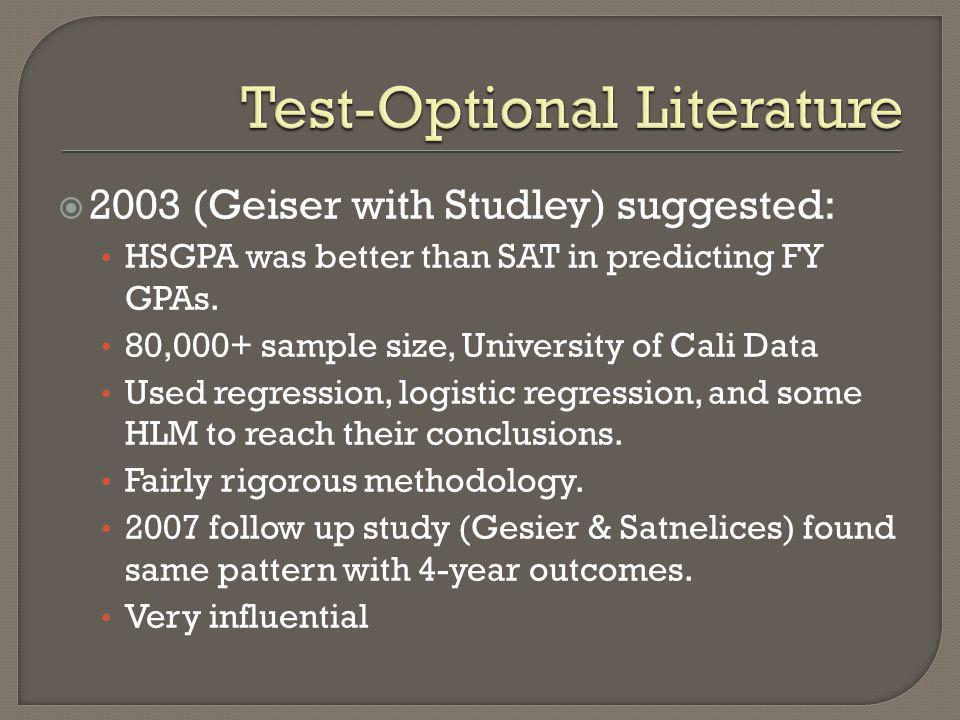 Test-Optional Literature