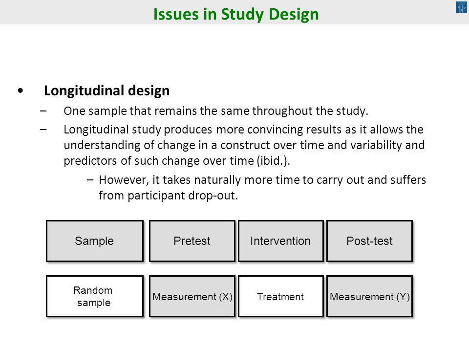 Issues in Study Design Longitudinal design