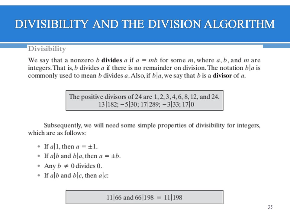 DIVISIBILITY AND THE DIVISION ALGORITHM