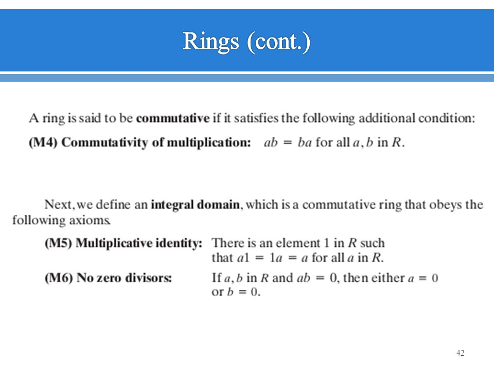 Rings (cont.)