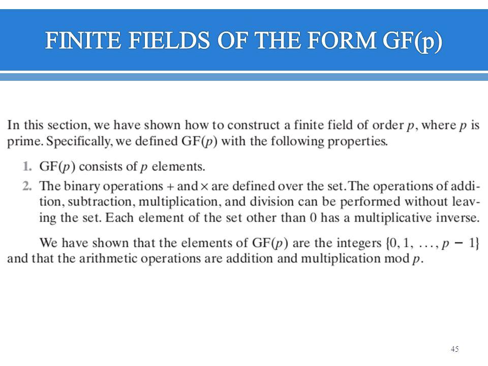 FINITE FIELDS OF THE FORM GF(p)