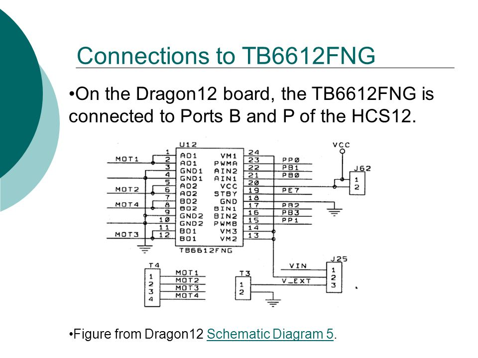 Connections to TB6612FNG On the Dragon12 board, the TB6612FNG is connected to Ports B and P of the HCS12.