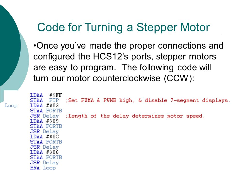 Code for Turning a Stepper Motor