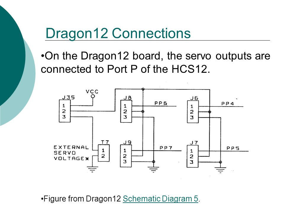Dragon12 Connections On the Dragon12 board, the servo outputs are connected to Port P of the HCS12.