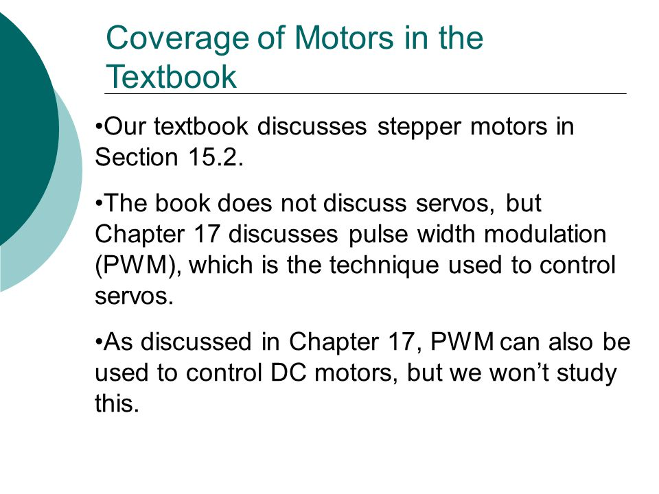 Coverage of Motors in the Textbook
