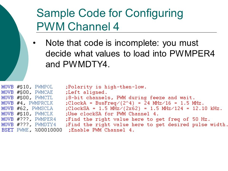 Sample Code for Configuring PWM Channel 4