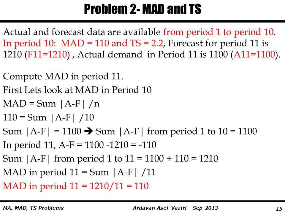 Problem 2- MAD and TS Actual and forecast data are available from period 1 to period 10.