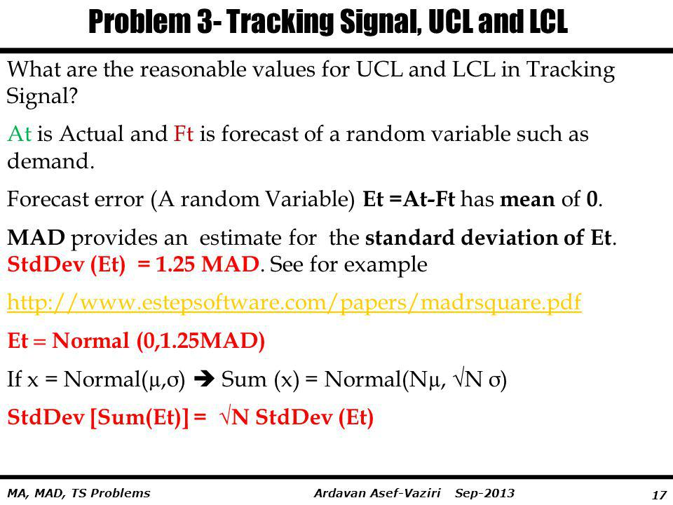 Problem 3- Tracking Signal, UCL and LCL