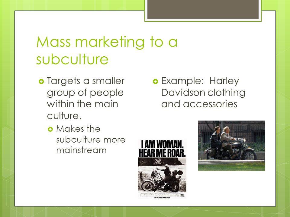 Mass marketing to a subculture