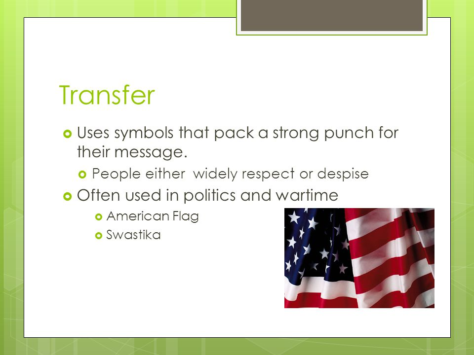 Transfer Uses symbols that pack a strong punch for their message.