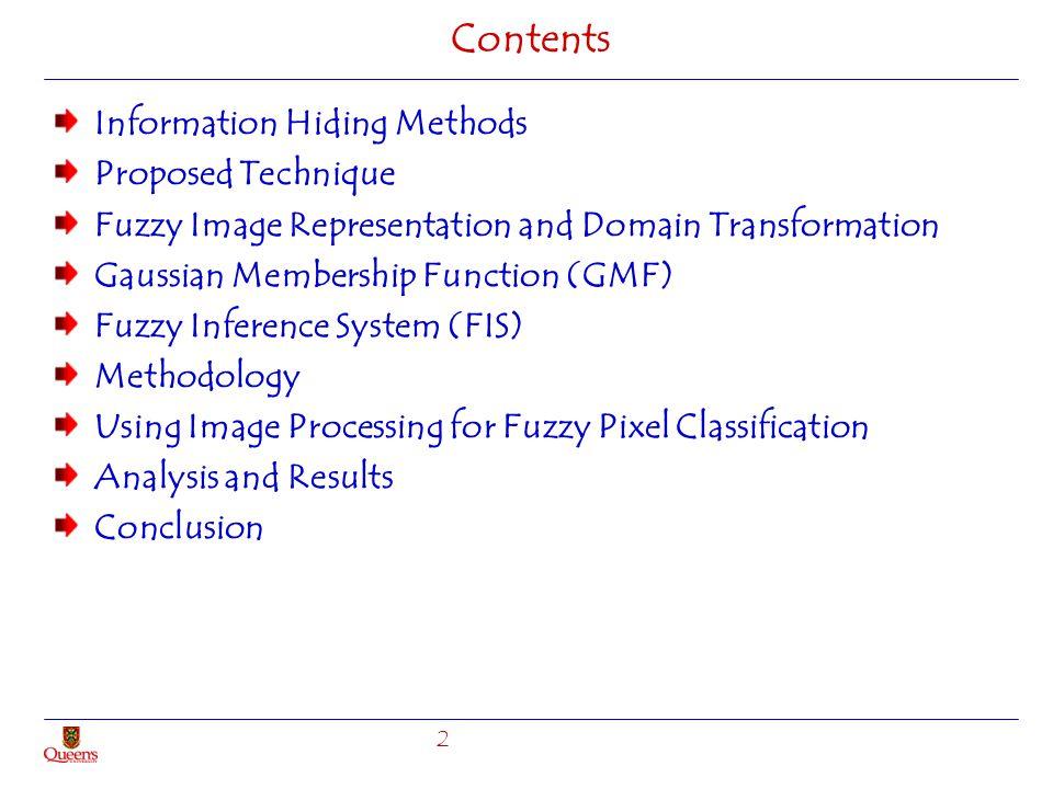 Contents Information Hiding Methods Proposed Technique