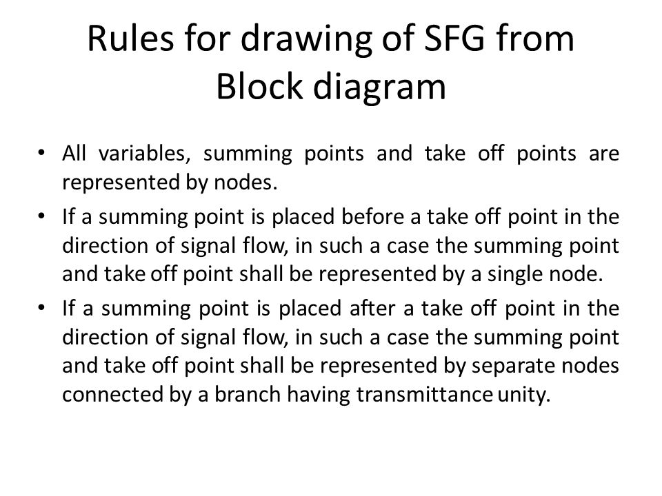 Rules for drawing of SFG from Block diagram