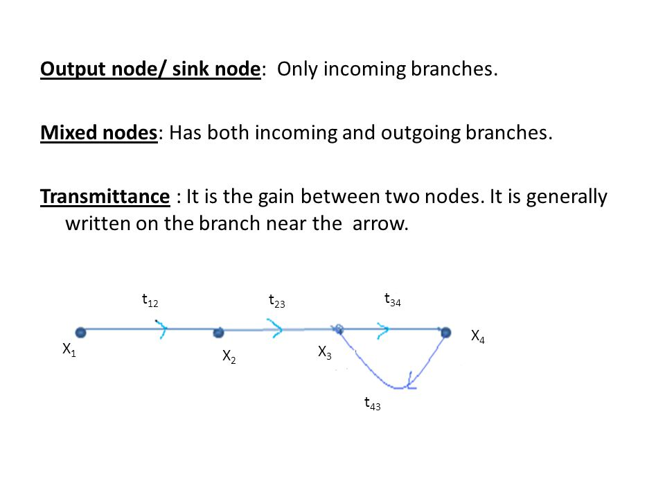 Output node/ sink node: Only incoming branches