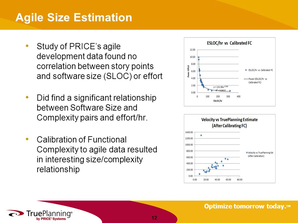 Agile Size Estimation Study of PRICE's agile development data found no correlation between story points and software size (SLOC) or effort.