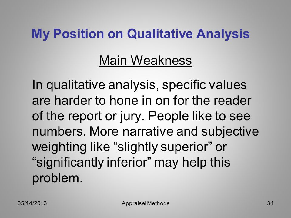 My Position on Qualitative Analysis