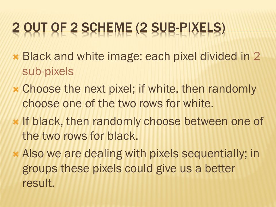 2 out of 2 scheme (2 sub-pixels)