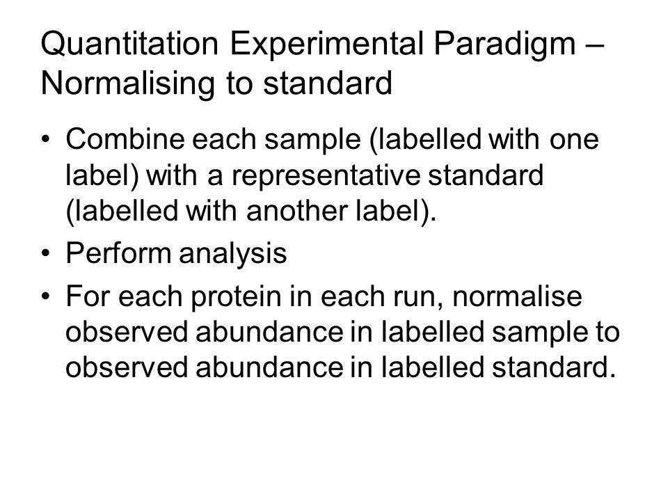 Quantitation Experimental Paradigm – Normalising to standard
