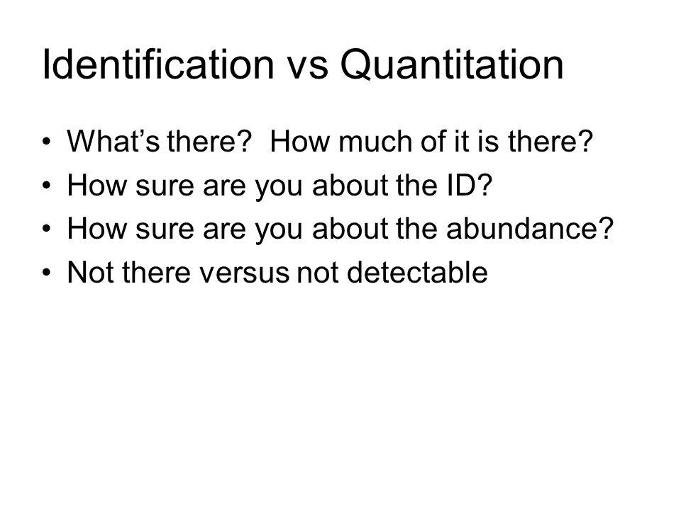 Identification vs Quantitation