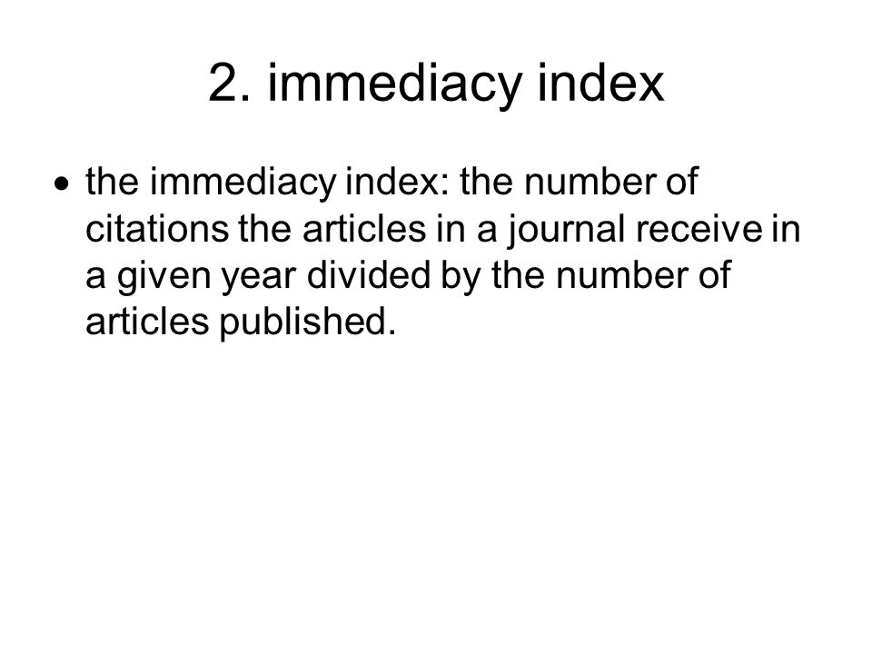 2. immediacy index