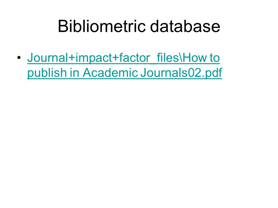 Bibliometric database