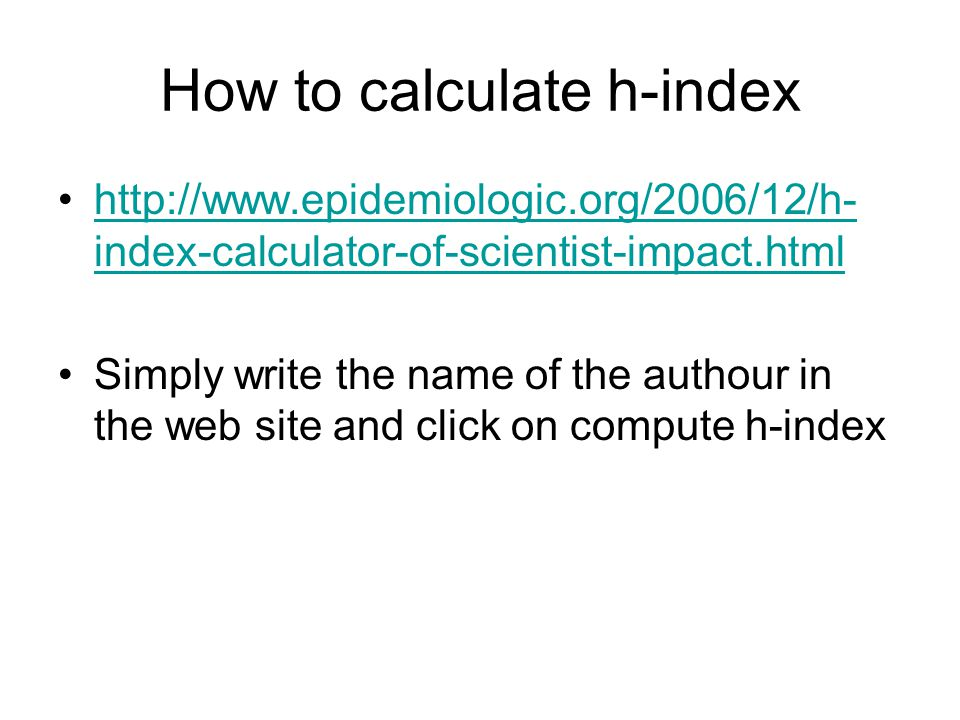 How to calculate h-index