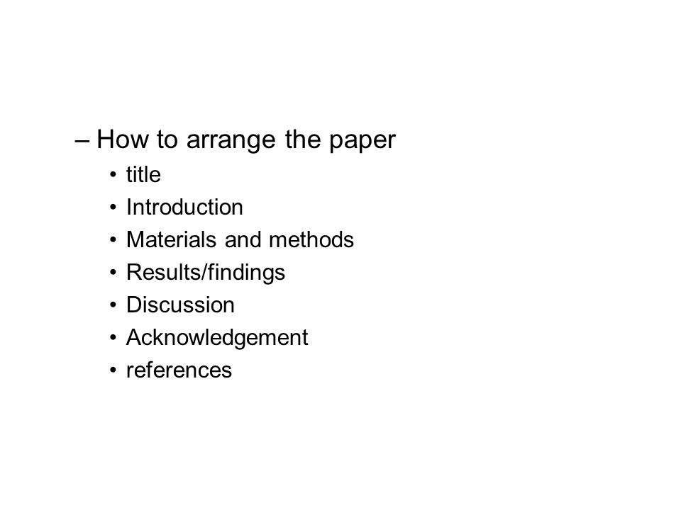 How to arrange the paper