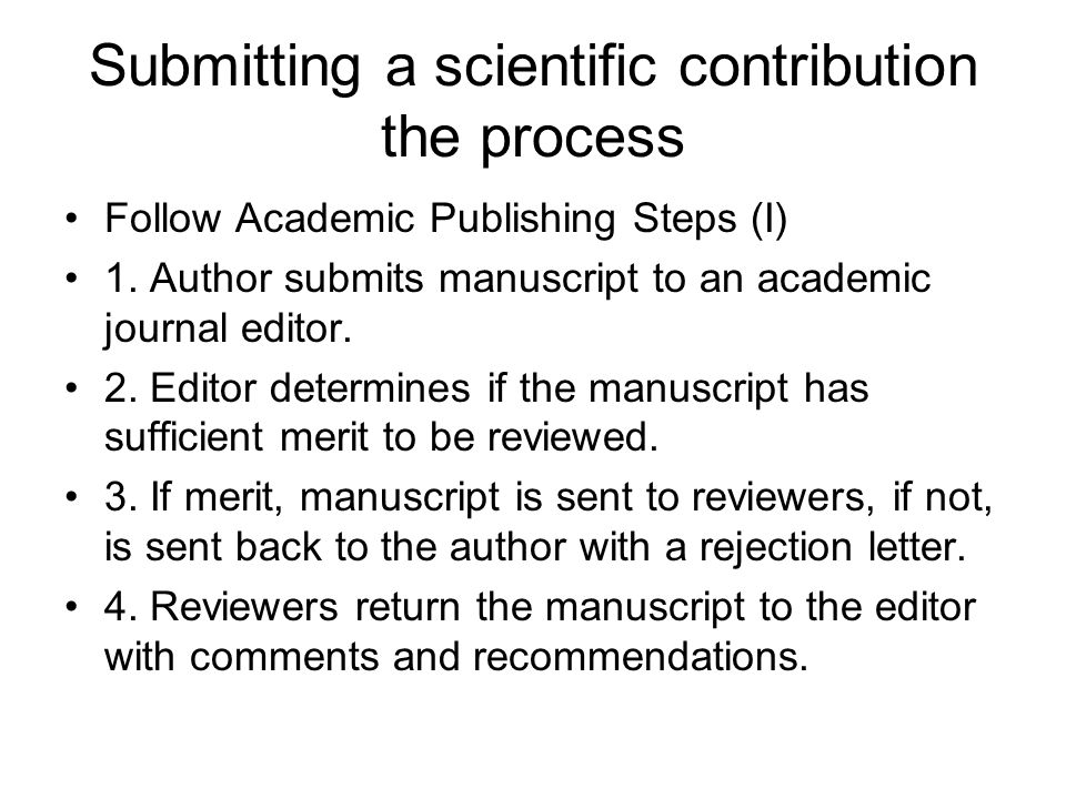 Submitting a scientific contribution the process