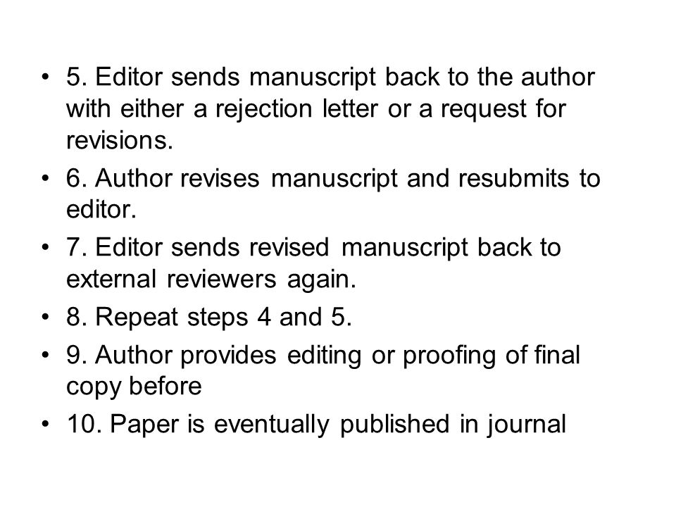 5. Editor sends manuscript back to the author with either a rejection letter or a request for revisions.