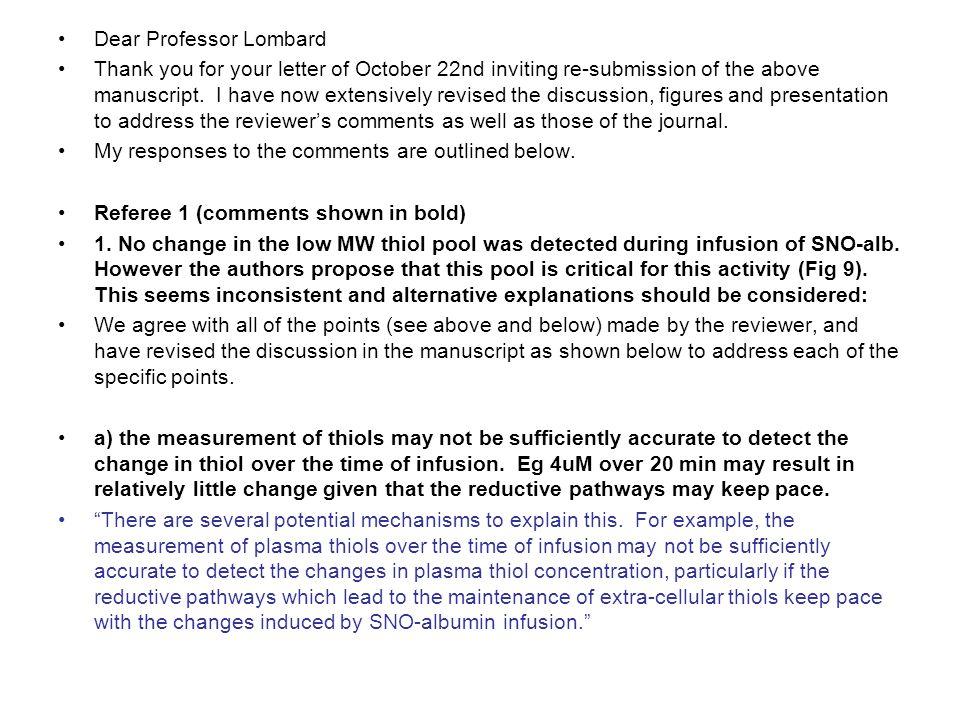 Dear Professor Lombard