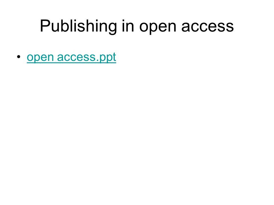 Publishing in open access