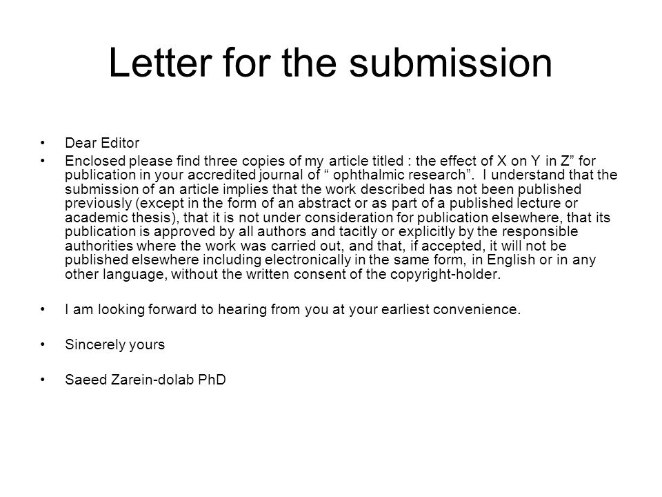 Letter for the submission