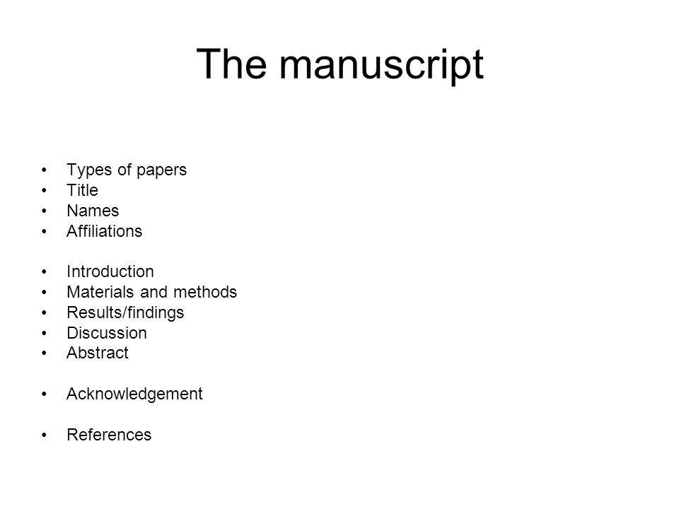 The manuscript Types of papers Title Names Affiliations Introduction