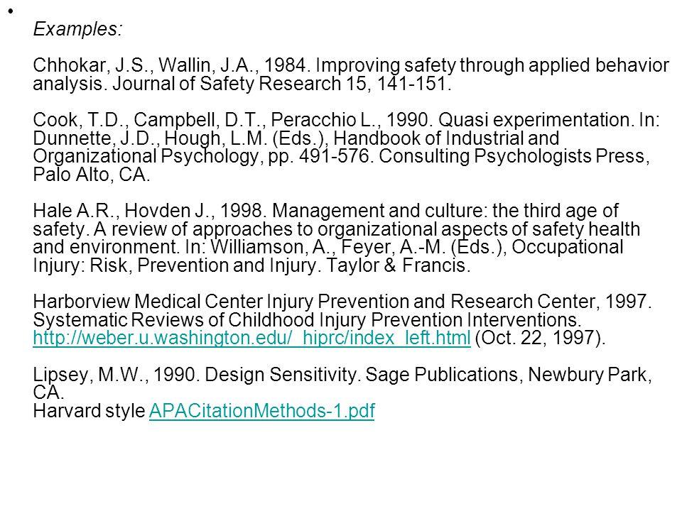 Examples: Chhokar, J. S. , Wallin, J. A. , 1984