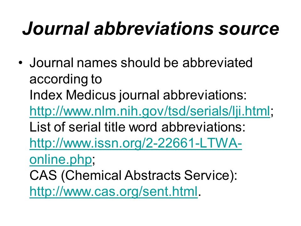 Journal abbreviations source