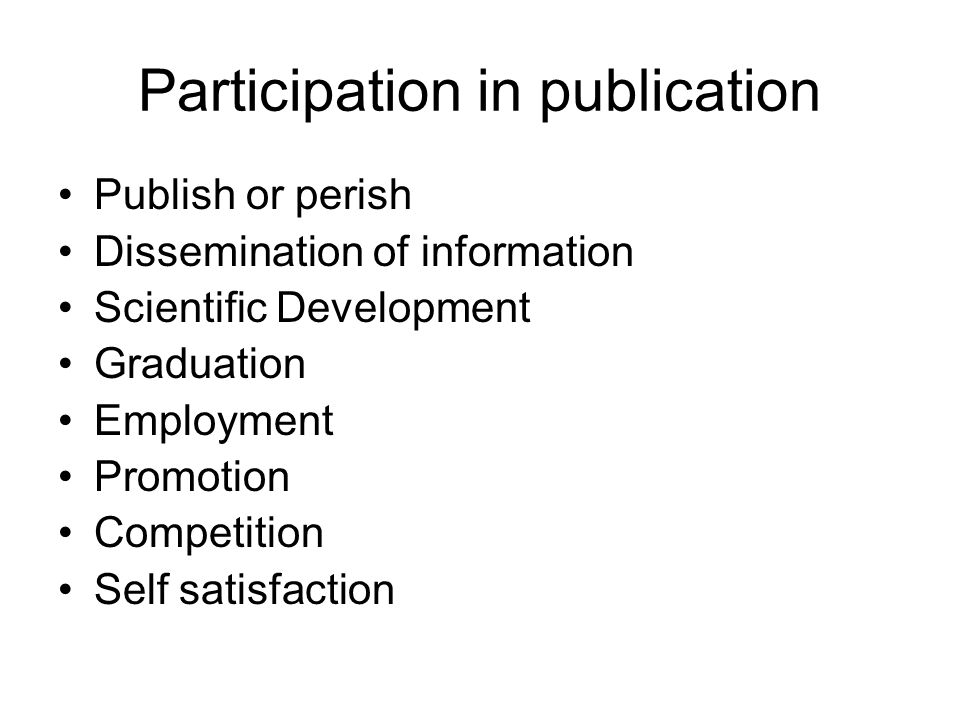 Participation in publication