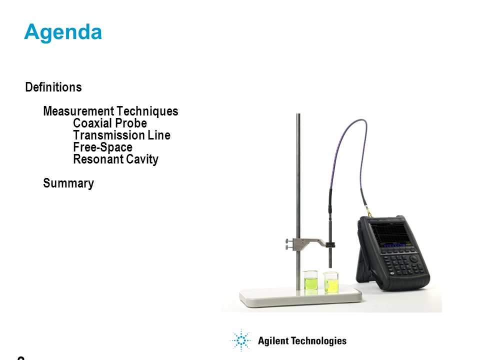 Agenda Definitions Measurement Techniques Coaxial Probe Transmission Line Free-Space Resonant Cavity Summary.