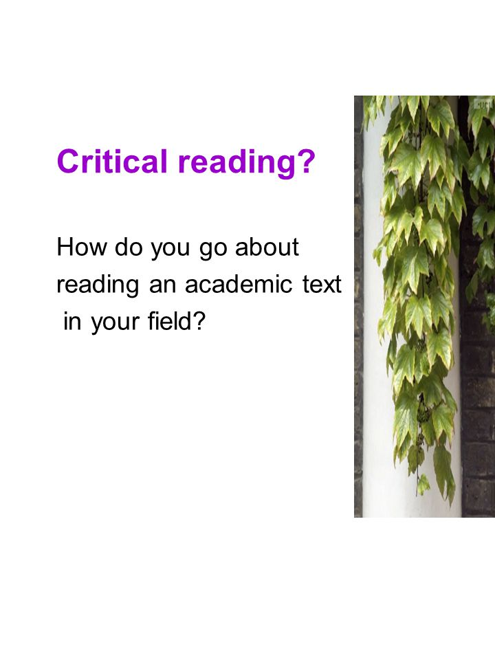 Critical reading Get some views from participants. You sit down with an academic text… what do you do