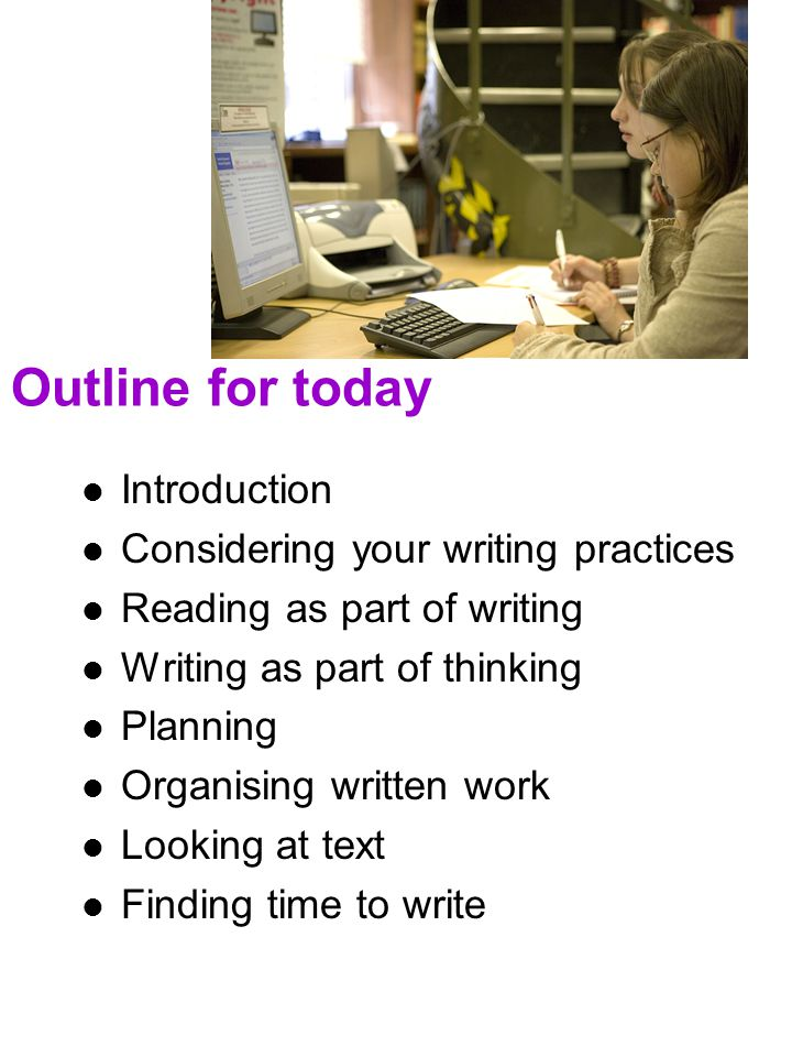 Outline for today Introduction Considering your writing practices
