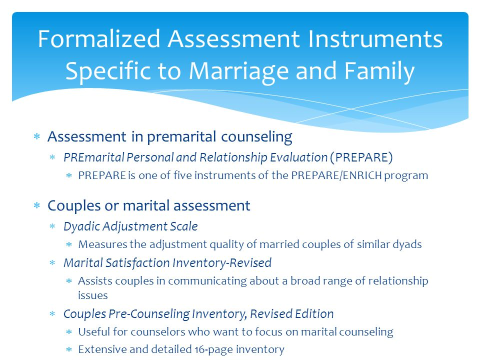 Formalized Assessment Instruments Specific to Marriage and Family