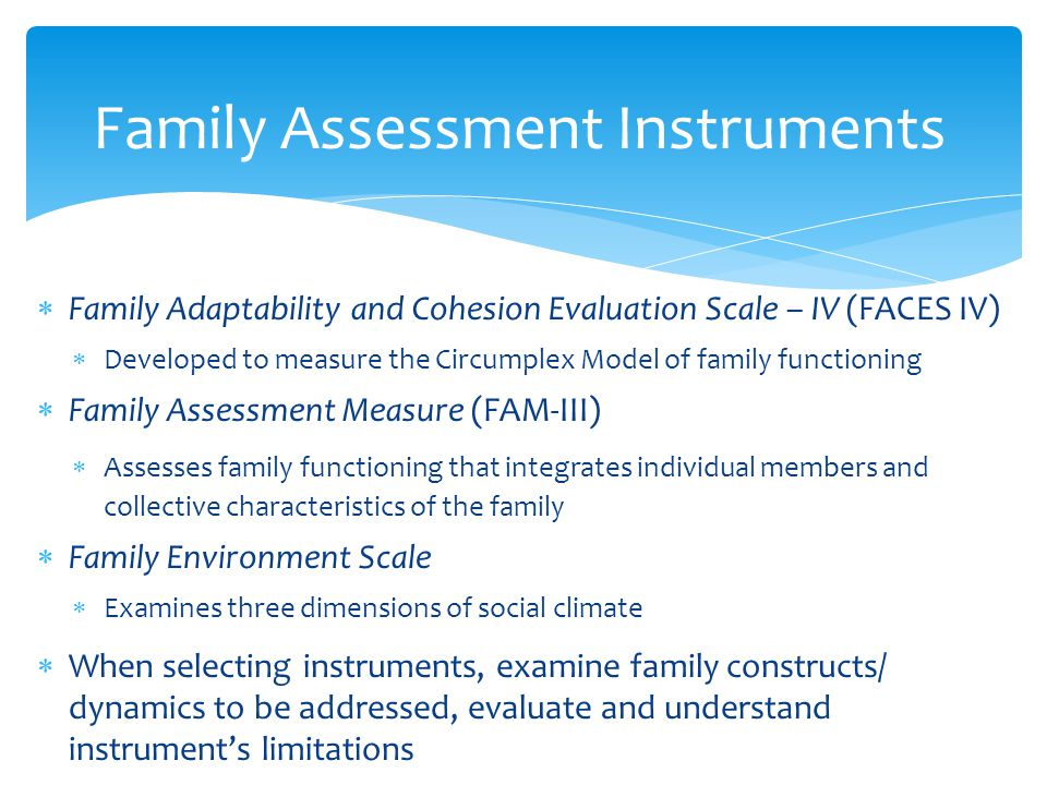 Family Assessment Instruments