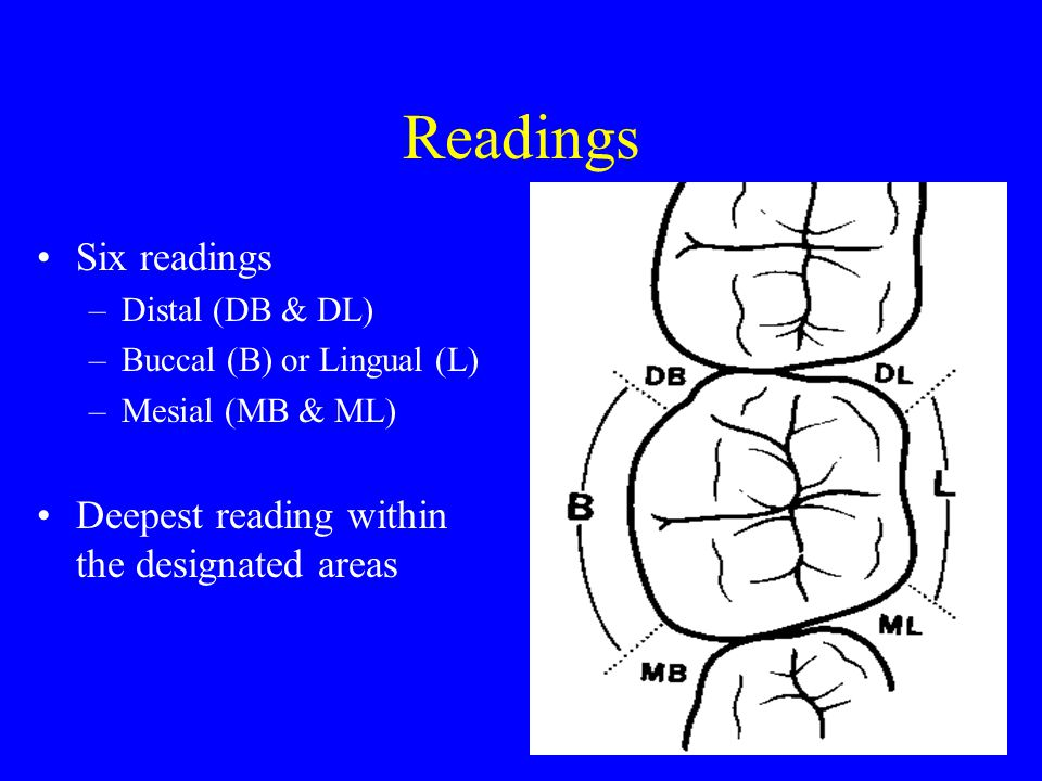 Readings Six readings Deepest reading within the designated areas
