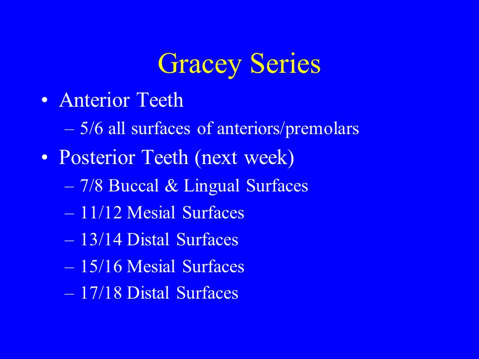 Gracey Series Anterior Teeth Posterior Teeth (next week)