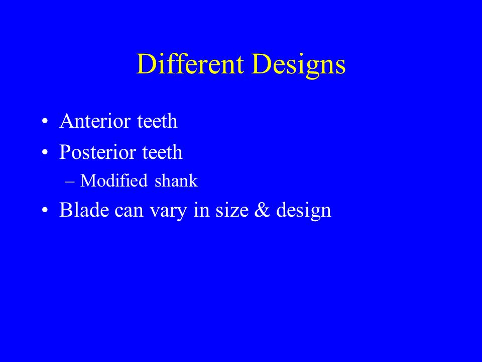 Different Designs Anterior teeth Posterior teeth
