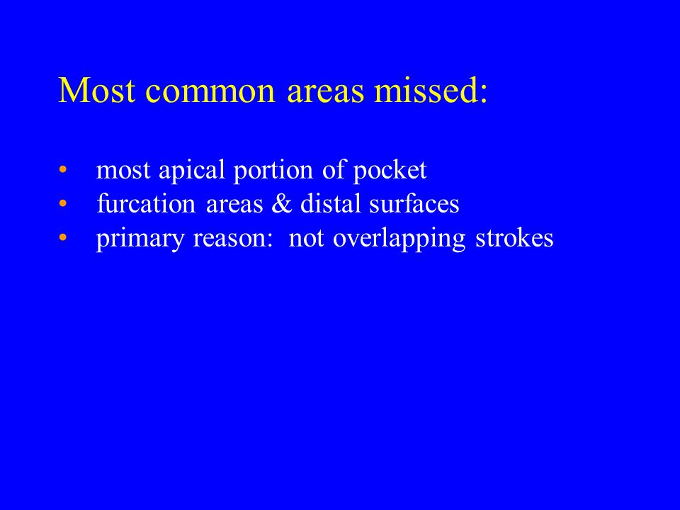 Most common areas missed: