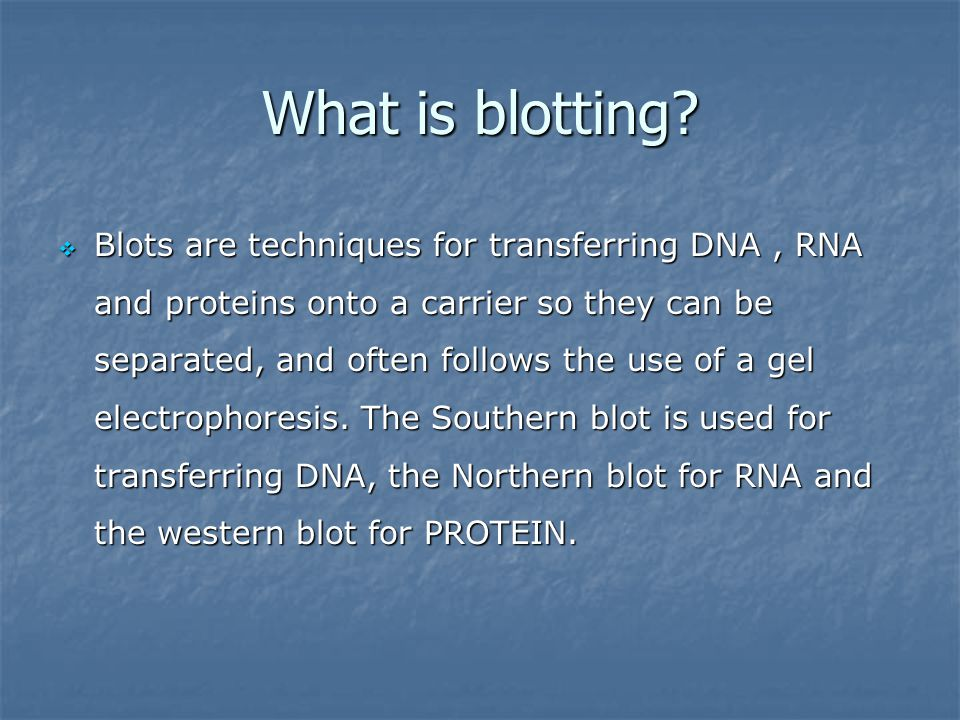 What is blotting
