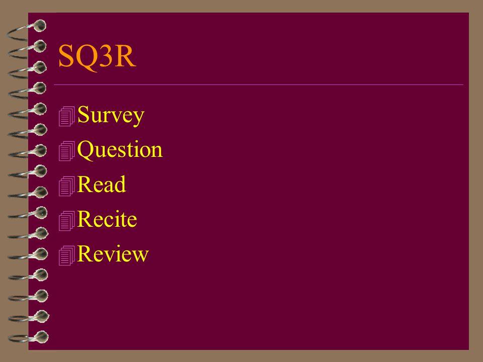 SQ3R Survey Question Read Recite Review