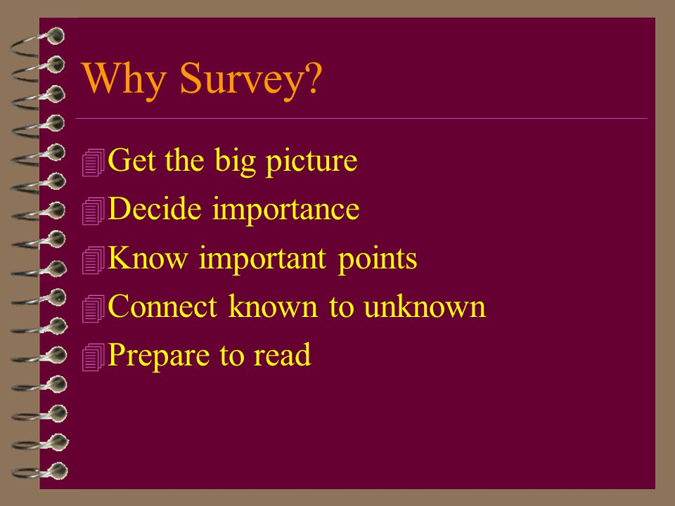 Why Survey Get the big picture Decide importance